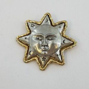 JJ JONETTE Sun Moon Silver Tone Brooch